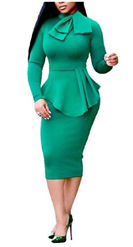Linea Un Di A Puro Abito Di Coolred Bassa donne Colore Casuale Sexy Bodycon Patch Vita Pantaloni Verde PYIBn6qwn