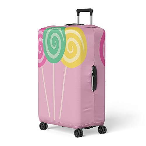 Pinbeam Luggage Cover Swirl Lollipops of Three in Pink Green Travel Suitcase Cover Protector Baggage Case Fits 18-22 ()