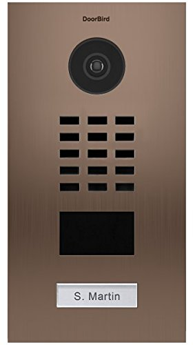 (DoorBird IP Video Door Station D2101BV, Bronze Brushed Stainless Steel, Flush-mounted with HD Camera - POE Capable)