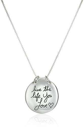 Sterling Silver Live The Life You Love Reversible Pendant Necklace by Amazon Collection
