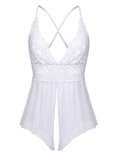 Women's Sexy Lace Teddy Bodysuit One Piece Lingerie Outfits Sheer Nighties (White,Large)