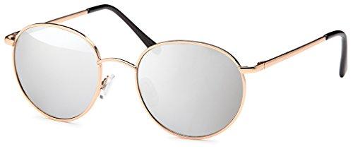Chic 400UV de oro redondas gafas Estilo Plateado sol Net gafas metal Lennon estructura de John de Espejo rYvrwq7Z
