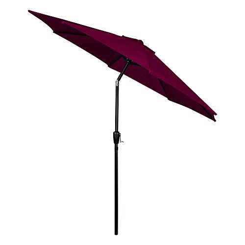 CMP Outdoor Table 9ft Patio Umbrella Umbrella Market Umbrella 8 Sturdy Ribs Picnic Table Umbrella Heavy Duty Tilt Umbrella, Burgundy