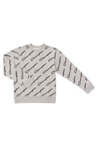 Champion Unisex Heritage Boy and Girls Fleece Pullover Scipt Sweatshirt (X-Large, Heritage Oxford Heather/Black Script)