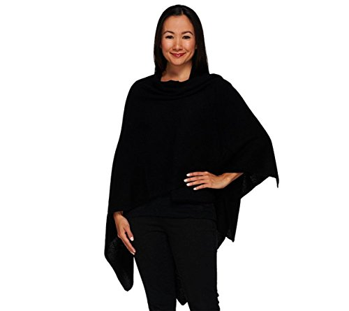 Isaac Mizrahi Flattering 2-Ply Cashmere Open Front Wrap Solid Black NEW A267921 by Isaac Mizrahi Live!