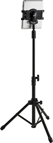 Displays2go iPad Floor Stand with Tripod Base, Height Adjustable with Telescoping Post, Portable with Carry Case (IPDADTA01F)
