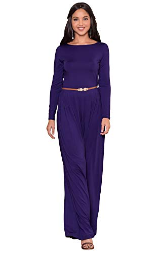 KOH KOH Plus Size Womens Long Sleeve Sleeves Wide Leg with Belt Formal Elegant Cocktail Party Fall Pant Suit Pants Suits Jumpsuit Jumpsuits Romper Rompers, Indigo Blue Purple XL 14-16 (2) by KOH KOH