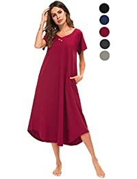 Loungewear Womens Nightgown Cotton Knit Short Sleeve Sleepwear Long  Nightshirt with Pockets S-XXL 669de1ae2