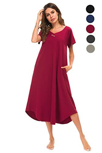 YOZLY Loungewear Womens Short Sleeve Loose Fit Long Nightgown with Pockets S-XXL (Wine Red, ()