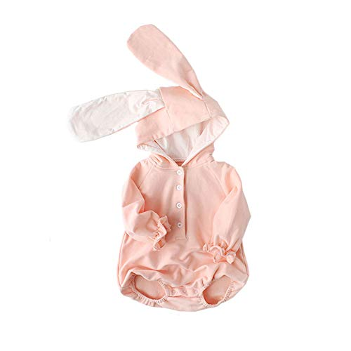ALLAIBB Newborn Baby Boys Girls Cute Cartoon Bunny Cotton Hooded Romper Jumpsuit Size 6M (Pink) ()