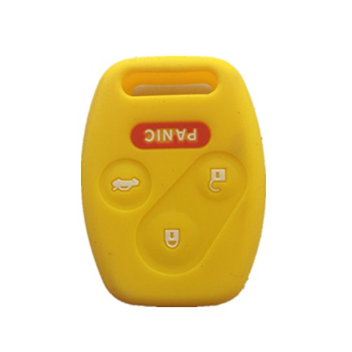 (Yellow Silicone Rubber Keyless Entry Remote Key Fob Case Skin Cover Protector for Honda 3+1)