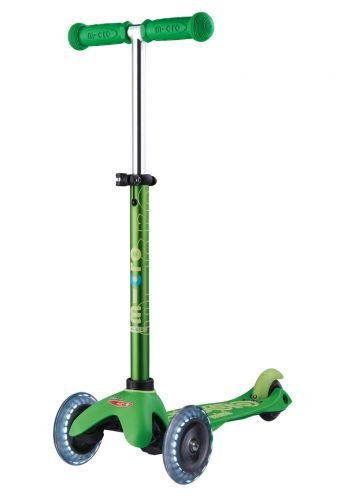 Micro Mini Deluxe - LED 3-Wheeled, Lean-to-Steer, Swiss-Designed Micro Scooter for Preschool Kids with LED Light-up Wheels, Ages 2-5 - Green