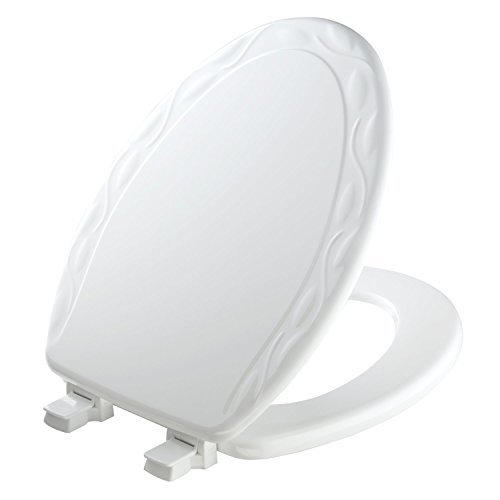 MAYFAIR Sculptured Ivy Toilet Seat will Never Loosen and Easily Remove, ELONGATED, Durable Enameled Wood, White,  134ECA