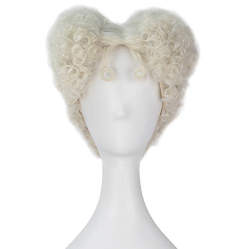 Miss U Hair Adult Short Curly Agedness Hair Heart Style Halloween Costume Wig (Platinum blonde)