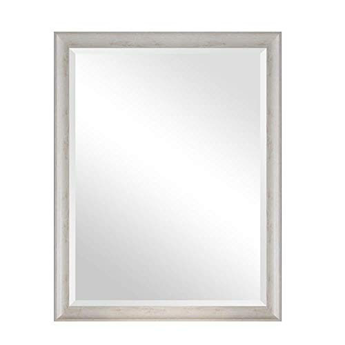 Vintage Mirror Solid Wood - Shabby Chic Wall Mirror - Bathroom Lounge Hallway - Rustic Country Style (color : White, Size : 75 100cm) ()