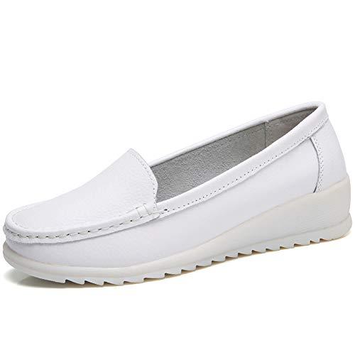 - ZYEN-XZH6616baise39 Women's All White Nursing Shoes Comfortable Slip On Nurse Work Wedge Leather Loafers White 8 B(M) US