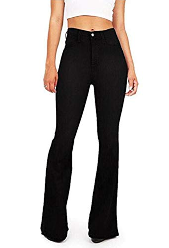 GUNLIRE Women's Juniors Black Bell Bottom Flare Jeans High Waisted Stretch Wide Leg Long Pants