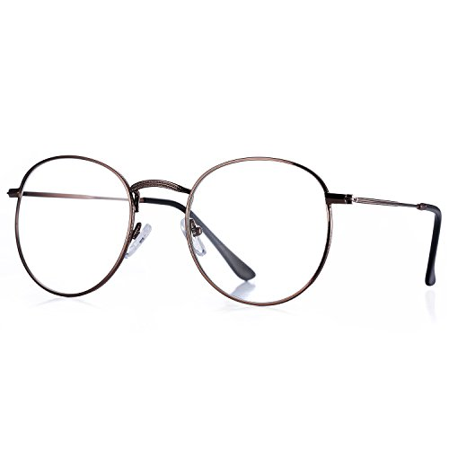 Pro Acme Classic Round Metal Clear Lens Glasses Frame Unisex Circle Eyeglasses - Glasses Mens Oval