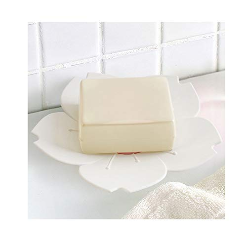 MOVEmen Creative Draining Cherry Blossom Soap Dish Soap Box Flower Cherry Blossom Soap Bathroom Trays Canisters Suitable for Travel, Business Trip, Go Out, Kitchen, Bathroom, Desktop (White) ()