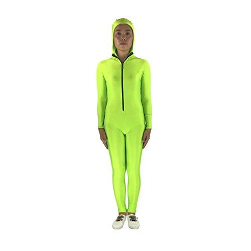 Perfk 大人用 快適 スパンデックス製 ボディスーツ フード付きタイツ 全6サイズ4色選べる - 蛍光グリーン  Lの商品画像