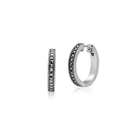 - Gemondo 925 Sterling Silver Marcasite Hoop Earrings