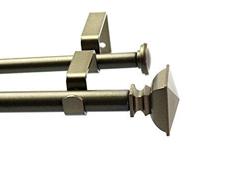 Urbanest Square Urn Adjustable Double Drapery Curtain Rod Set, 5/8
