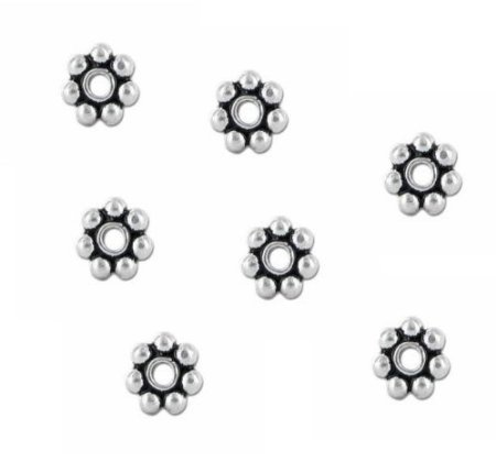 Beading Station 100-Piece Daisy Spacer Metal Beads, 5mm, Tibetan Silver