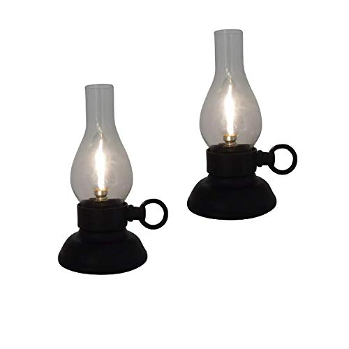 The Nifty Nook I Set of 2 Vintage Hurricane Lamp LED I Farmhouse Design I for Parties I Weddings I Home Decor -