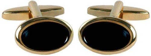 (David Van Hagen Mens Gold Plated Onyx Oval Cufflinks - Black/Gold)