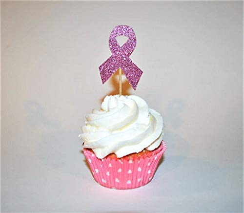 Breast Cancer Awareness Glitter Cupcake Toppers-10 Pieces -