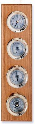 Clock, Barometer, Thermometer & Hygrometer Brass Weather Station on Oak Wood Base -