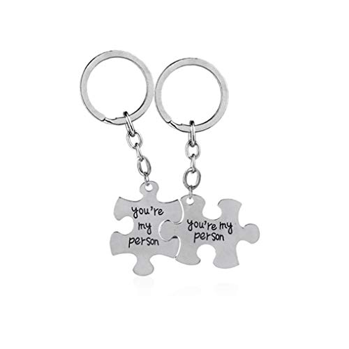 Myhouse You are My Person Alphabet Puzzle Keychain Couple Keychain for Lovers