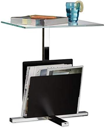 Grote Uitverkoop Relaxdays Bijzettafel met krantenstandaard, metaal, glazen salontafel, krantenvak, HxBxD: 53 x 46 x 36 cm, zwart  8f48ZFy