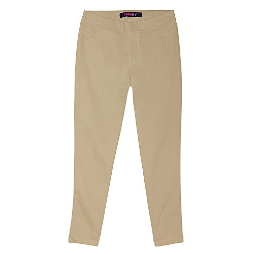 French Toast Big Girls' Stretch Skinny Pull-on Pant, Khaki, 14 by French Toast