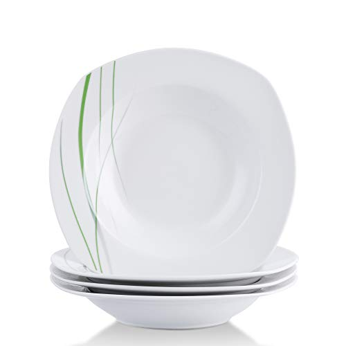 ware Porcelain Soup Plate Sets, Ceramic Ivory White 6-Ounce Serving Bread Plates AVIVA Series ()