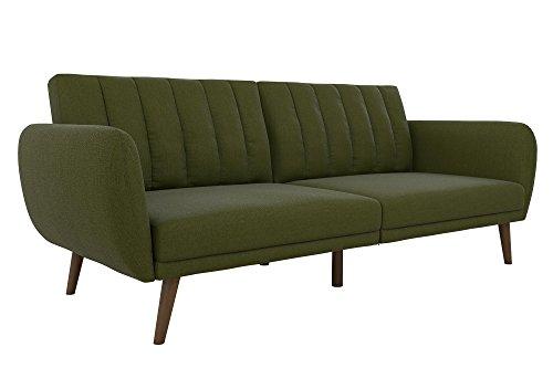 Couch (Novogratz Brittany Sofa Futon, Premium Linen Upholstery and Wooden Legs, Green Linen)
