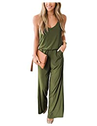 LANISEN Women Wide Leg Jumpsuits Loose Strap Belt Pants Trousers Casual Overall