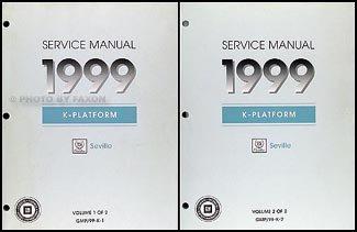 1999 Cadillac Seville Repair Shop Manual Original 2 Volume Set