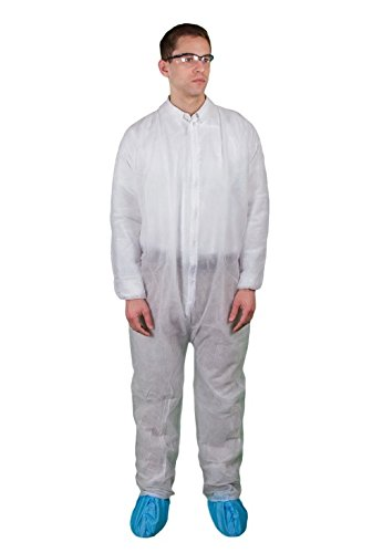Keystone CVL-NW-E-LRG-WHITE Polypropylene Coverall, Elastic Wrists and Ankles Zipper Front, Single Collar, Large, White (Pack of 25)