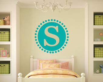 Personalized Wall Decal Initial Wall Decal Polka Dot Border Girls Boys Nursery Wall Decal Bedroom Wall Decal Initial Decor Wall Decal Vinyl