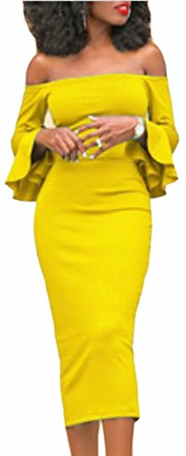 Jaycargogo Flared sexy Long Shoulder Dress Yellow Party off Sleeve Women's Evening wIpqIr