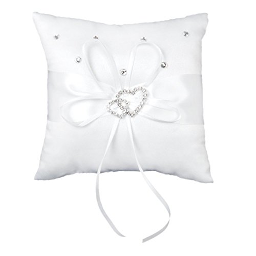 Hosaire Ring Bearer Pillow 4 x 4 inches Bow Rhinestone Double Heart Ring Pillow Wedding Decoration White