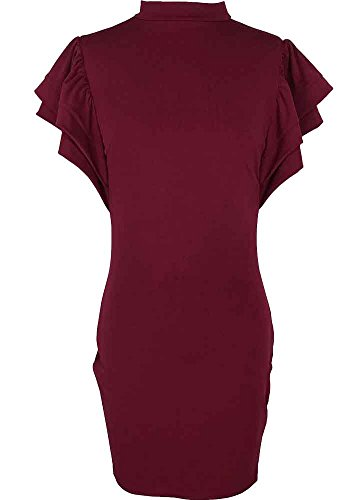 Bodycon4U Dress Burgundy Turtleneck Women's Ruffle gqYxrgAwt