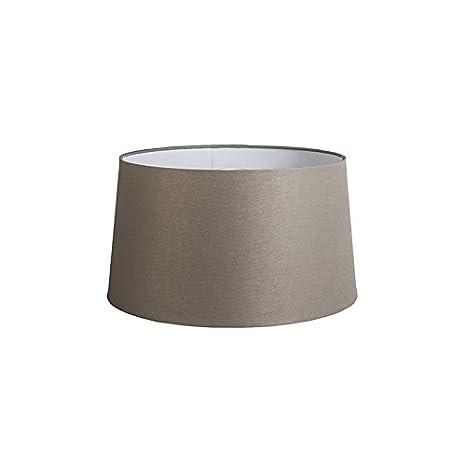 QAZQA Lino Pantalla de lino gris topo 45 cm, Redonda/Cónica ...
