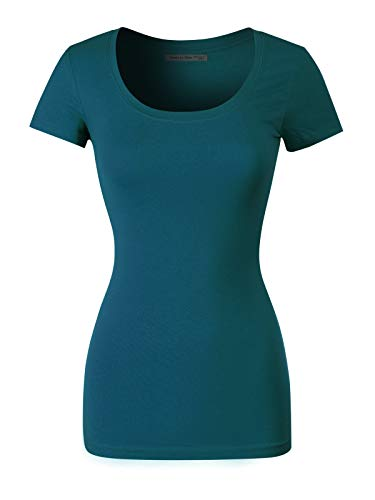 (Design by Olivia Women's Basic Solid Casual Deep Scoop Neck Short Sleeve T-Shirt, Ibtw016 Teal, Large)