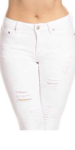 ab3aed05ffaed Monotiques Women s Ripped Distressed Skinny Denim Jeans ...