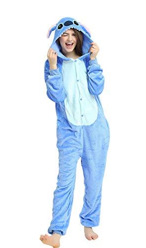 Indiefit Adults Onesie Pyjamas Flannel Animal Cosplay Costume Hoodie Sleepwear Nightgown stich-L -