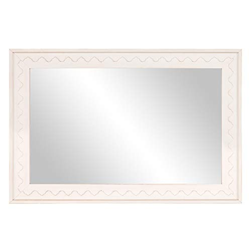 Distressed White Scallop Edge Wood Framed Wall Mirror