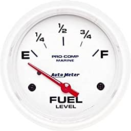AutoMeter 200761 Marine Electric Fuel Level Gauge 2-5/8 in. White Dial Face Fluorescent Red Pointer White Incandescent Lighting Air Core 240 Ohms Empty /33 Ohms Full Marine Electric Fuel Level Gauge