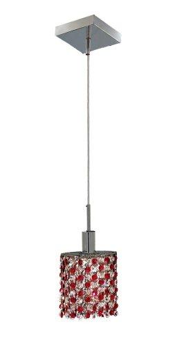 Elegant Lighting 1381D-S-E-BO/RC Mini 8-Inch High 1-Light Chandelier, Chrome Finish with Bordeaux (Red) Royal Cut RC Crystal (Chrome Bordeaux Pendant Lighting)